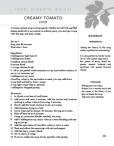 Creamy Tomato Soup Excerpt Le Kitchen Cookbook - a workbook by Adeline Olmer
