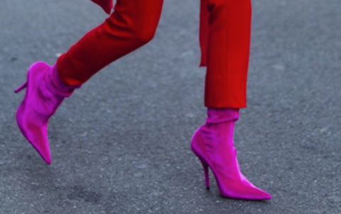 How to accessorize. Fuchsia shoes and red pants.