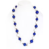 Large Bead Necklace Blue and White