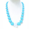 Big Chunky Bead Necklace Light Blue with Crystal