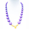 Big Chunky Bead Necklace French Mauve and Yellow