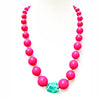 Big Chunky Bead Necklace Fuchsia with Turquoise