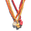 All 3 Bead and Pendant Necklace - Long, Orange, Red, Cornsilk