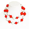 Large Bead Necklace Orange and White