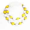 Large Bead Necklace Yellow and White
