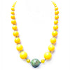 Big Chunky Beads Necklace Yellow with Green