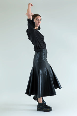 Aqua & Rock Black Bellen Fishtail Leather Skirt sustainably sourced premium fabrics