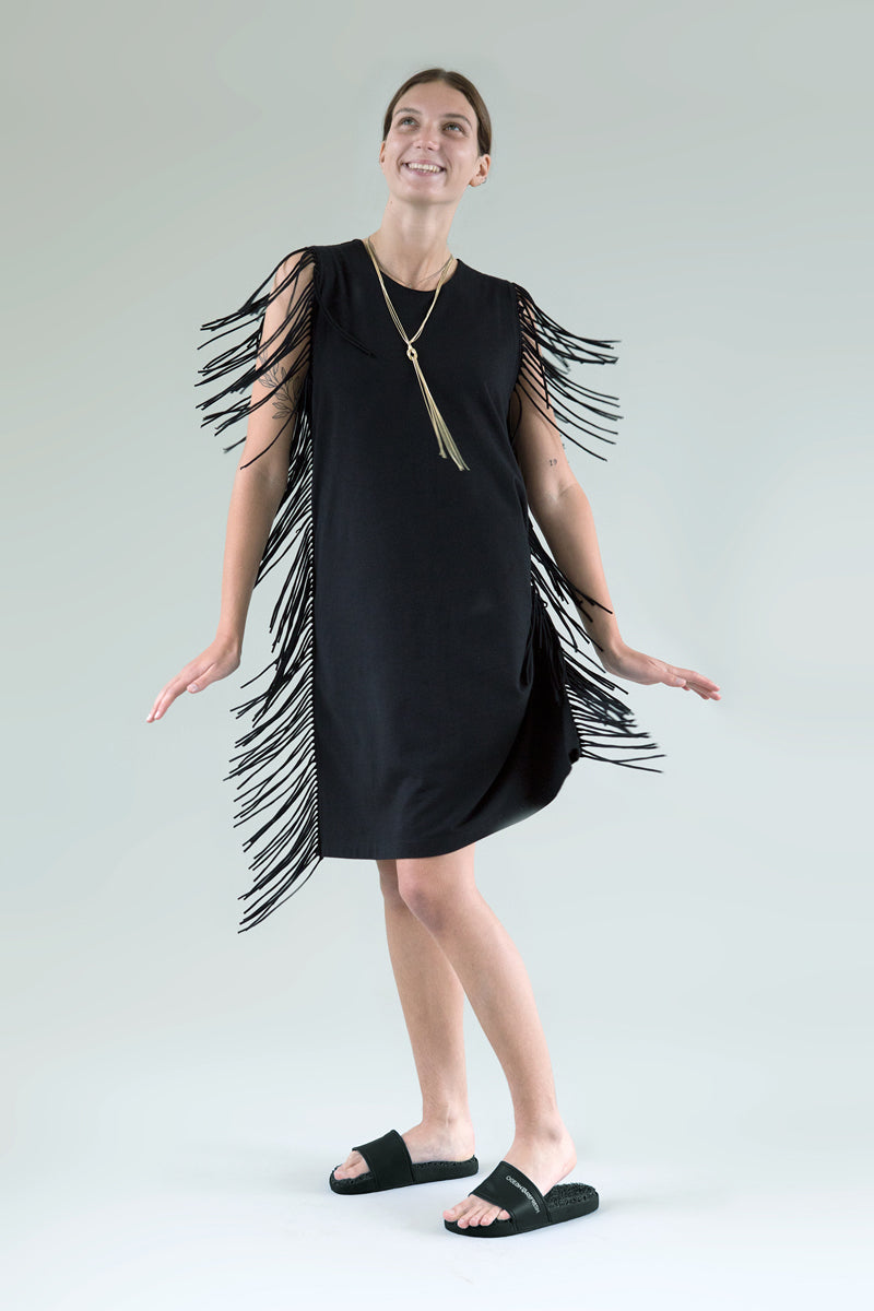 Aqua & Rock Chloe Black fringe dress sustainable premium