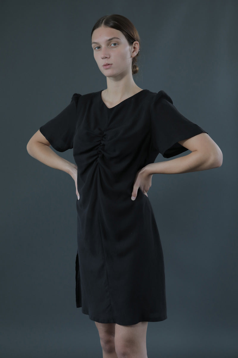 Black Elsa Mini Dress lightweight Tencel sustainably sourced and manufactured in the UK, premium designer dress