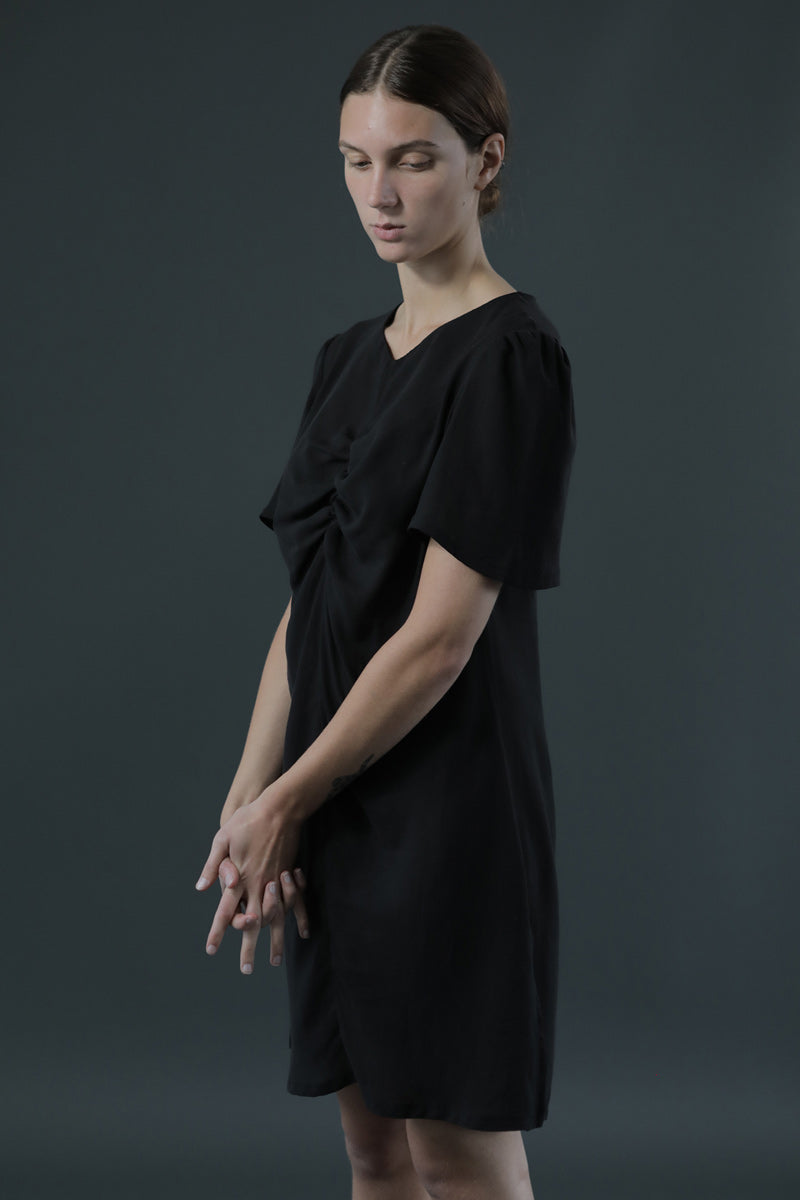 Black Elsa Mini Dress lightweight Tencel sustainably sourced and manufactured in the UK, premium designer mini dress