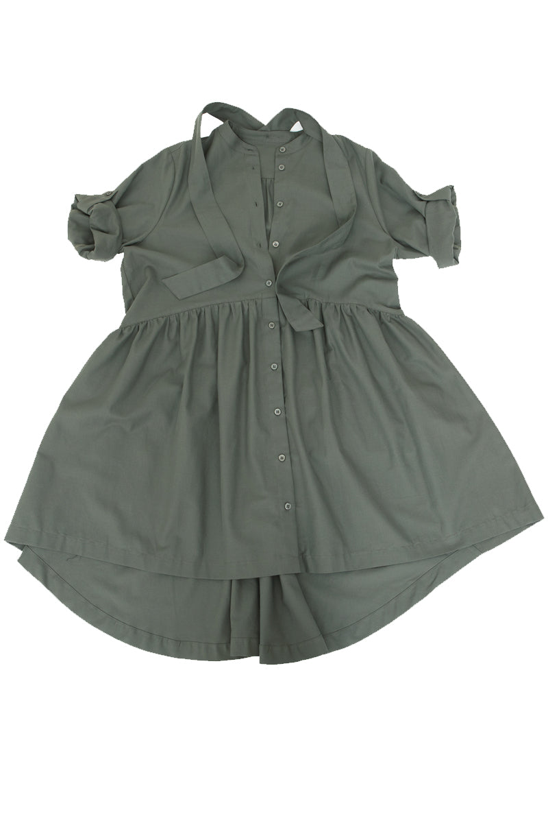 Aqua & Rock Green Khaki Italia Smock Dress made from sustainably sourced Tencel fabric premium