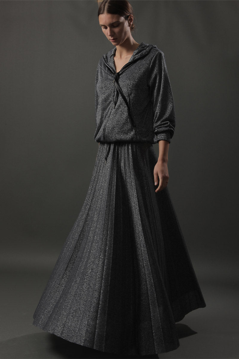 Aqua & Rock designer premium silver sustainable sourced long skirt with pleats and elasticated waist