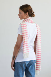 Nautical Pink and White Striped Scarf