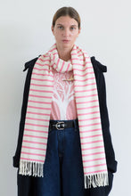Load image into Gallery viewer, Nautical Pink and White Striped Scarf