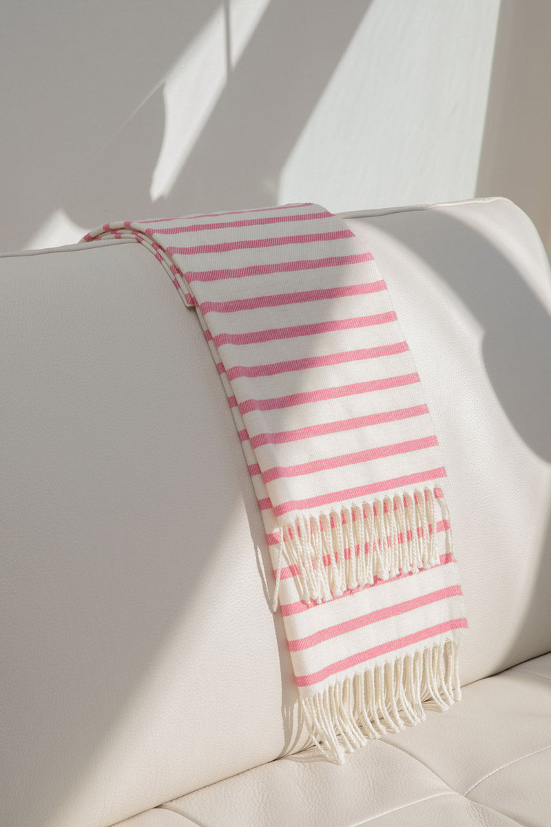 Aqua & Rock sustainably sourced striped pink and white premium designer scarf