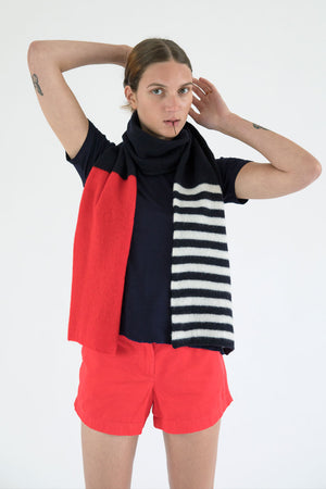 Aqua & Rock sustainably sourced striped scarf premium designer product