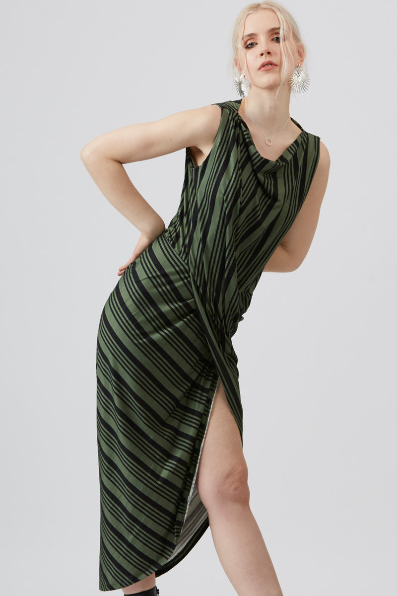 Giada Green Striped Dress