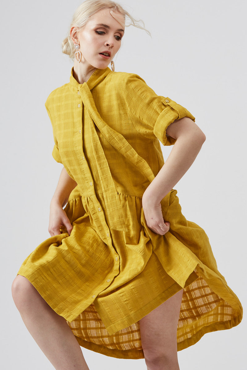 Yarrow Yellow Roll Tab Dress