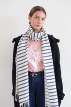 Load image into Gallery viewer, Nautical Blue and White Striped Scarf