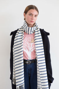 Nautical Blue and White Striped Scarf