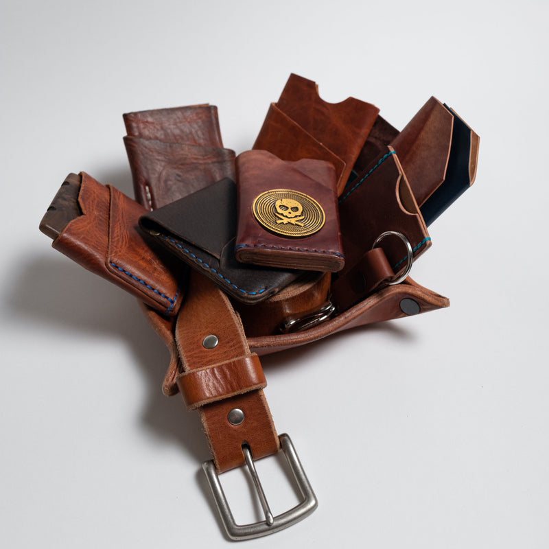 Full Grain Horween Leather Valet Tray -  Double Layer of 8 oz Leather: Use For Keys, Jewelry, Coin, EDC, Watch Storage Caddy