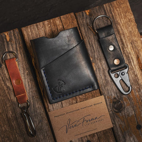 SLIM MINIMALISTIC LEATHER WALLET, BLACK FULL GRAIN LEATHER                                  - Exclusively on Amazon.ca