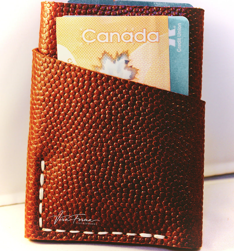 "Leather Card Holder Wallet - ""The Three Pointer Squared"" - Nine (9) Card Capacity - Basketball Leather"