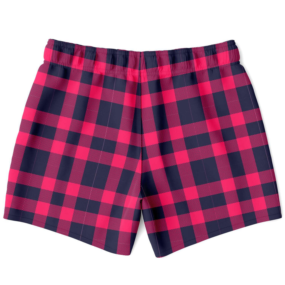 Load image into Gallery viewer, Red & Navy Tartan Swim Shorts