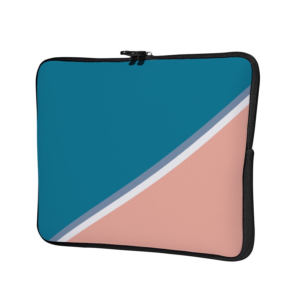 Personalized Laptop Sleeve - Blue & Coral Ash