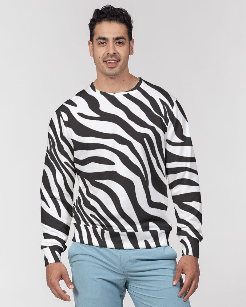 Zebra Print Men's Classic French Terry Crewneck Pullover