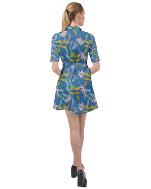 Load image into Gallery viewer, Parisian Blue Belted Shirt Dress