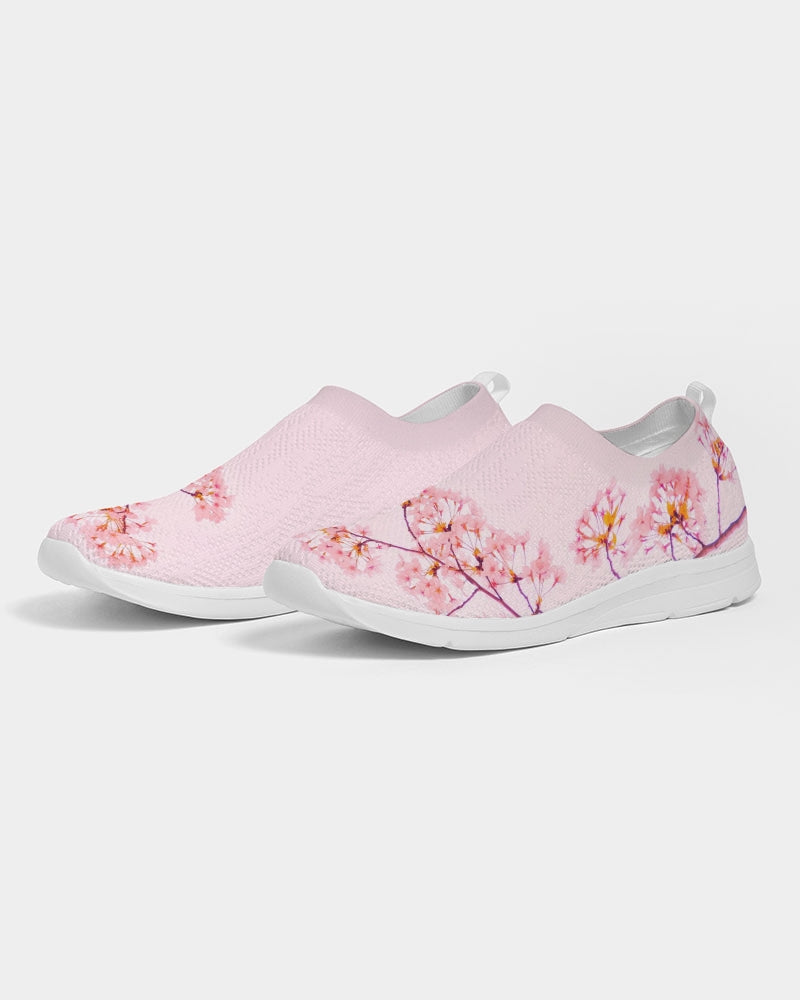 Load image into Gallery viewer, Pink Cherry Blossom Women's Slip-On Flyknit Shoe