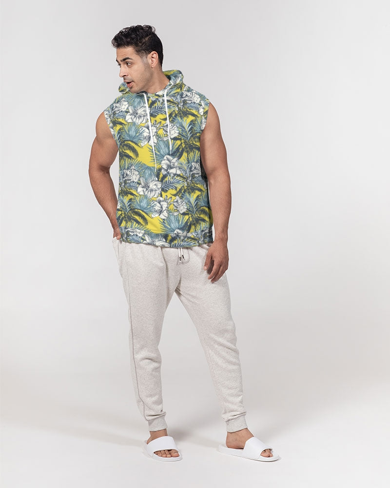 Yellow Tropics Men's Premium Heavyweight Sleeveless Hoodie