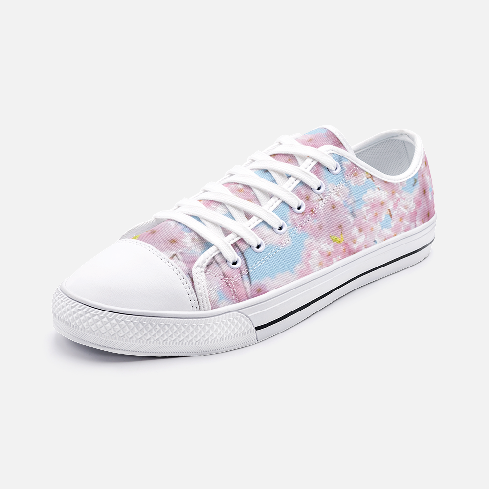 Cherry Blossom & Sky Blue Low Top Canvas Shoes