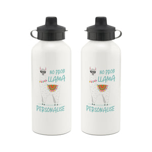 Personalised No Prob Llama Aluminium Water Bottle