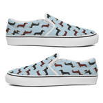 Dachshund Blue Slip On Unisex Canvas Shoes