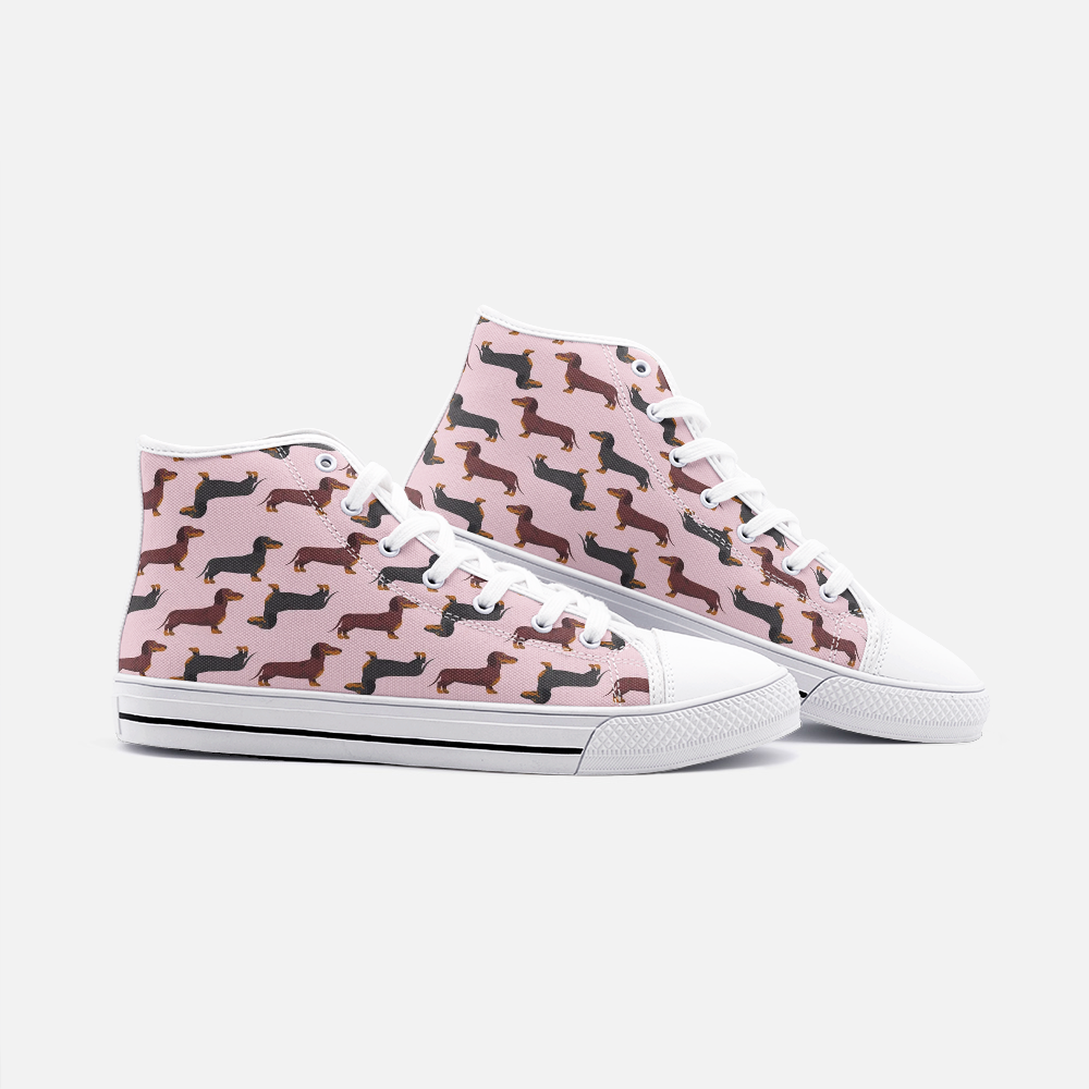 Dachshund Pink High Top Unisex Canvas Shoes