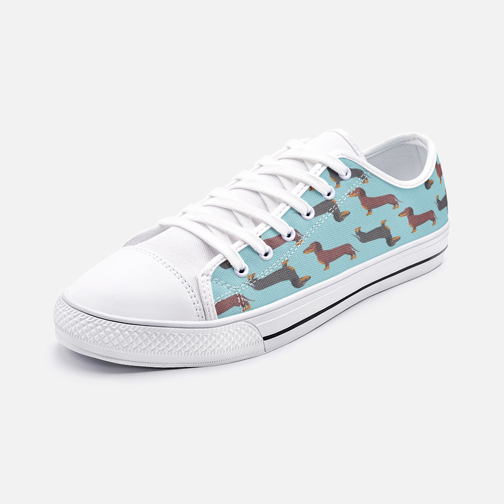 Dachshund Green Low Top Unisex Canvas Sneakers