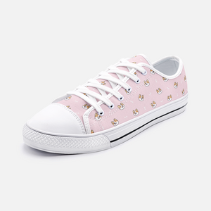 Load image into Gallery viewer, Dog & Bone Pink Low Top Unisex Canvas Sneakers