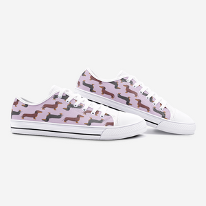 Load image into Gallery viewer, Dachshund Mauve Low Top Unisex Canvas Sneakers