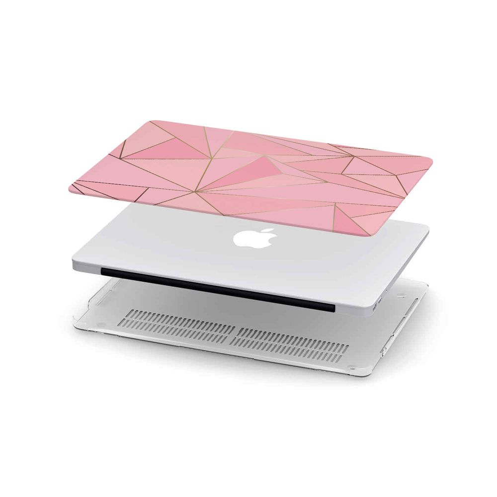 Macbook Hard Shell Case - Pink & Gold Geometric