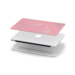 Macbook Hard Shell Case - Pink & Silver Geometric