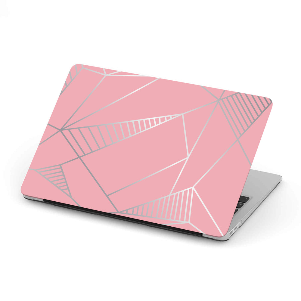 Personalized Macbook Hard Shell Case - Pink & Silver Geometric
