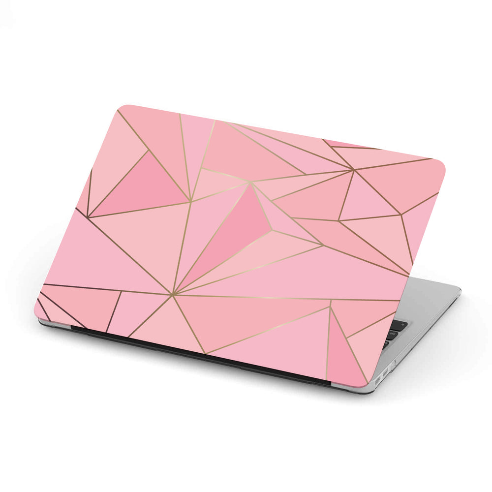 Personalized Macbook Hard Shell Case - Pink & Gold Geometric