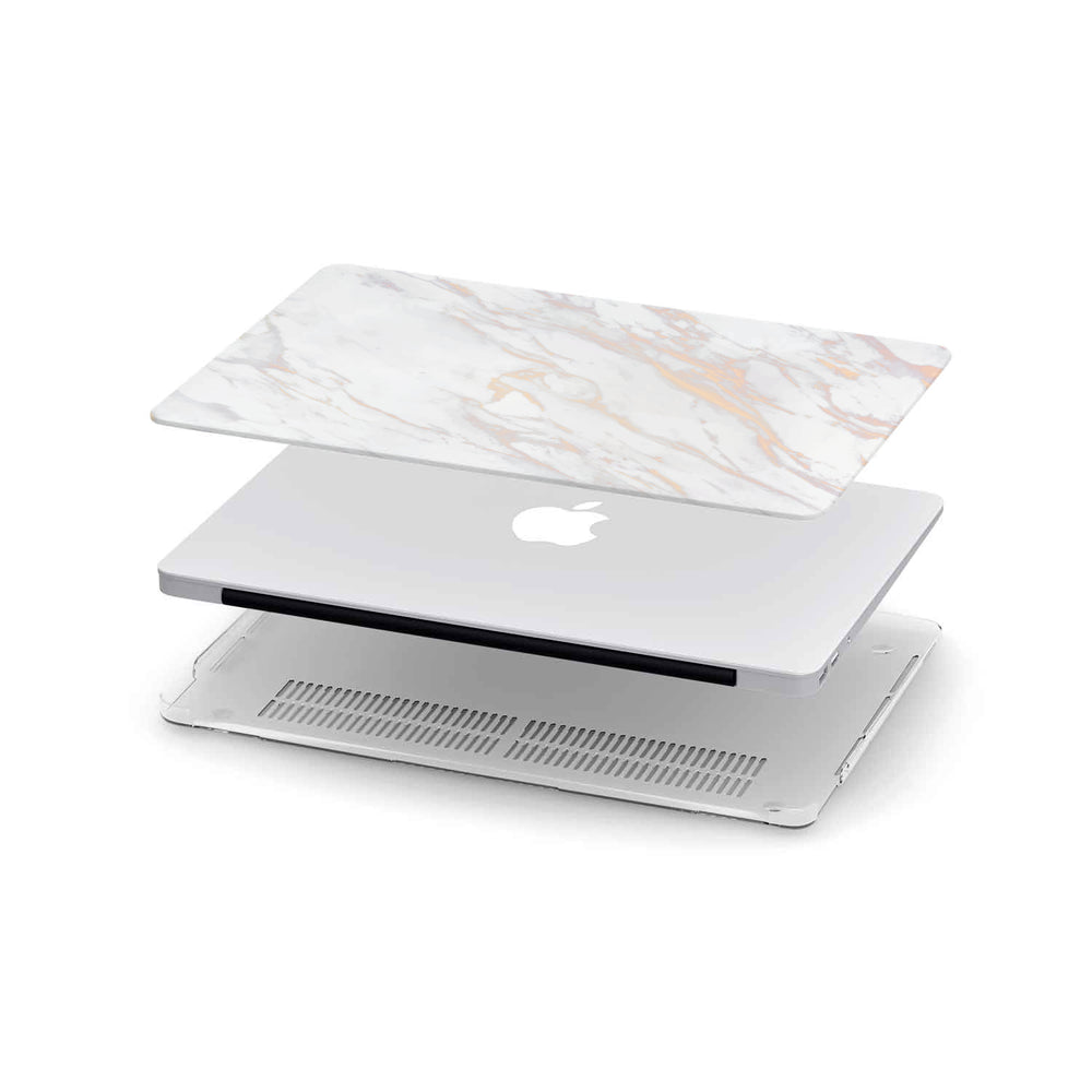 Macbook Hard Shell Case - White Gold Pink Marble