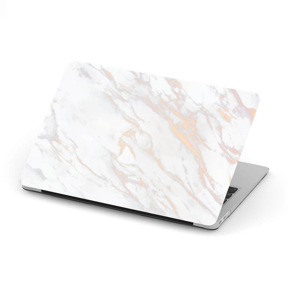 Macbook Hard Shell Case - White Rose & Gold Marble