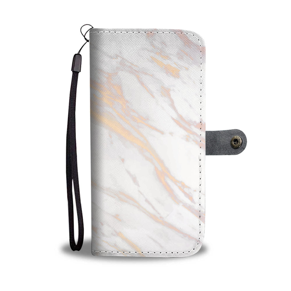 White Rose & Gold Marble Phone Wallet Case