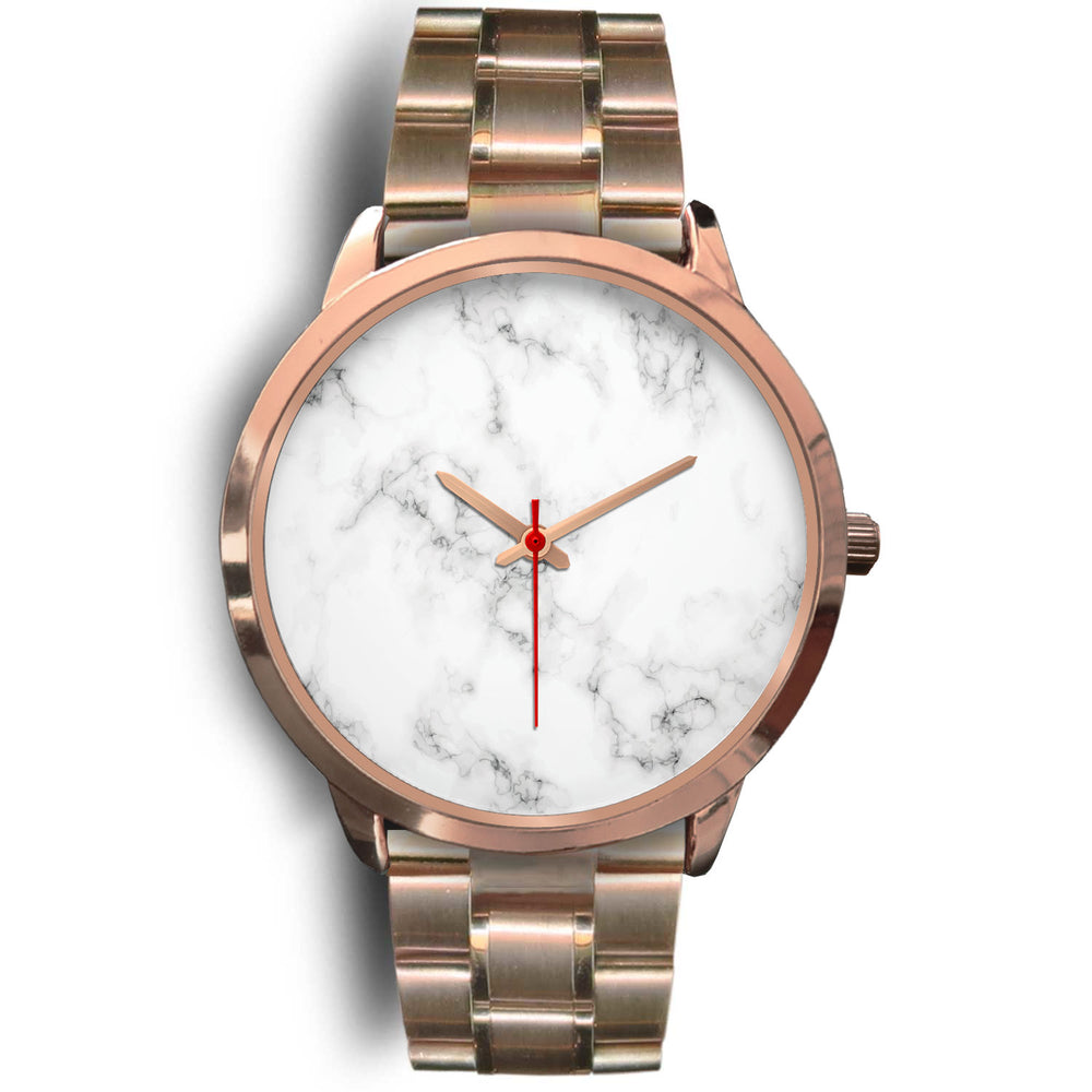 Paris Unisex Rose Gold Watch - White Marble