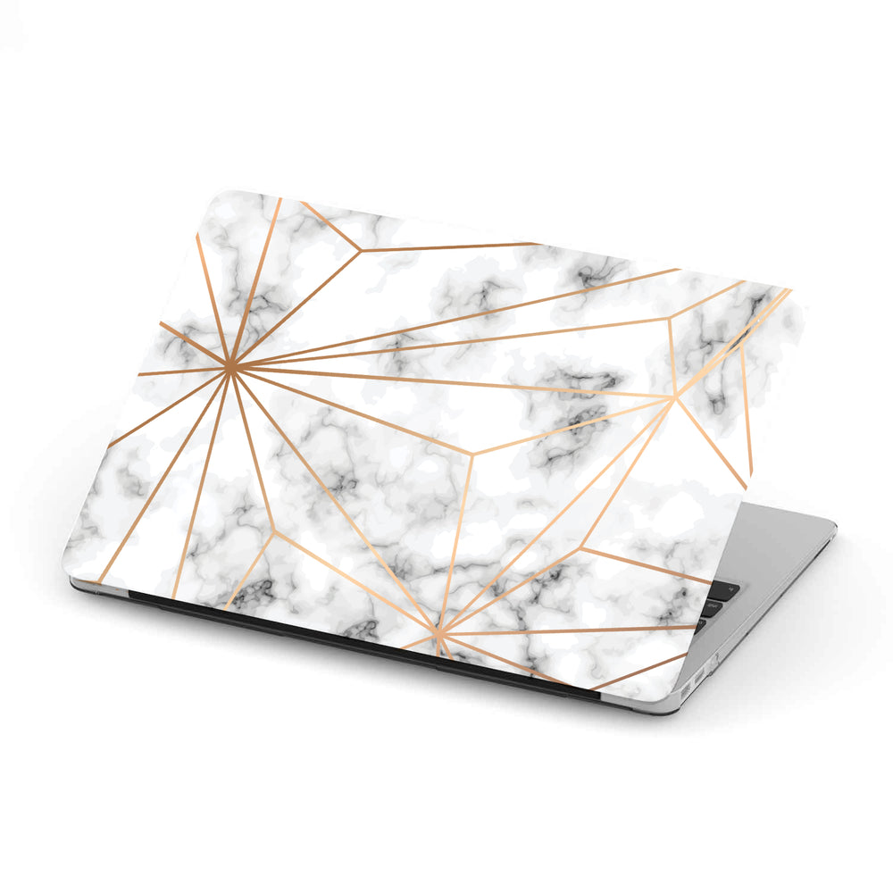 Macbook Hard Shell Case - White Marble & Geometric