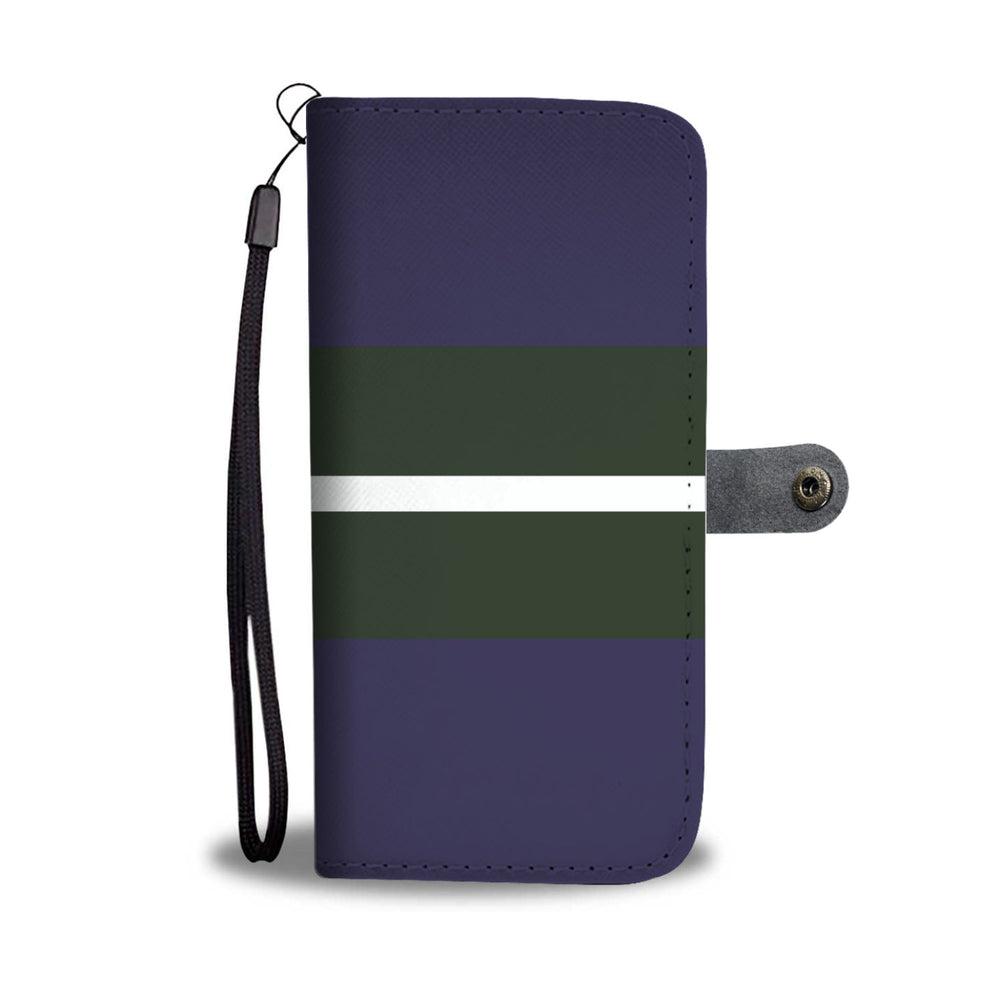 Purple Green White Stripe Phone Wallet Case